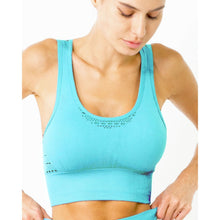 Mesh Seamless Bra With Cutouts - Aqua