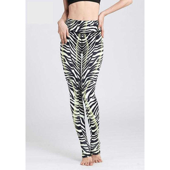 High Waist Zebra Printed Yoga Pants - Fits4Yoga