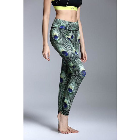 Green Peacock Feather Print Yoga Pants - Fits4Yoga