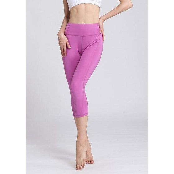 High Waist Solid Compression Leggings | Fits4Yoga