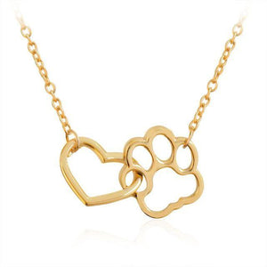 Locked In Love - Paw & Heart Necklace Gold Neck