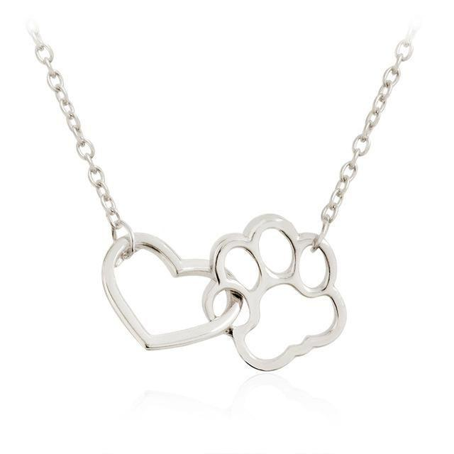 Locked In Love - Paw & Heart Necklace Silver Neck