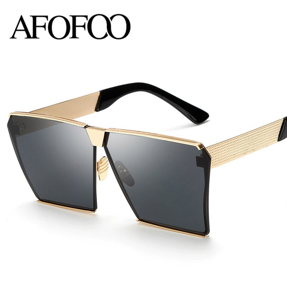 AFOFOO Fashion Oversized Sunglasses Metal Frame Square Luxury Brand Designer Women Mirror Sun glasses Men UV400 Big Frame Shades - Icymen