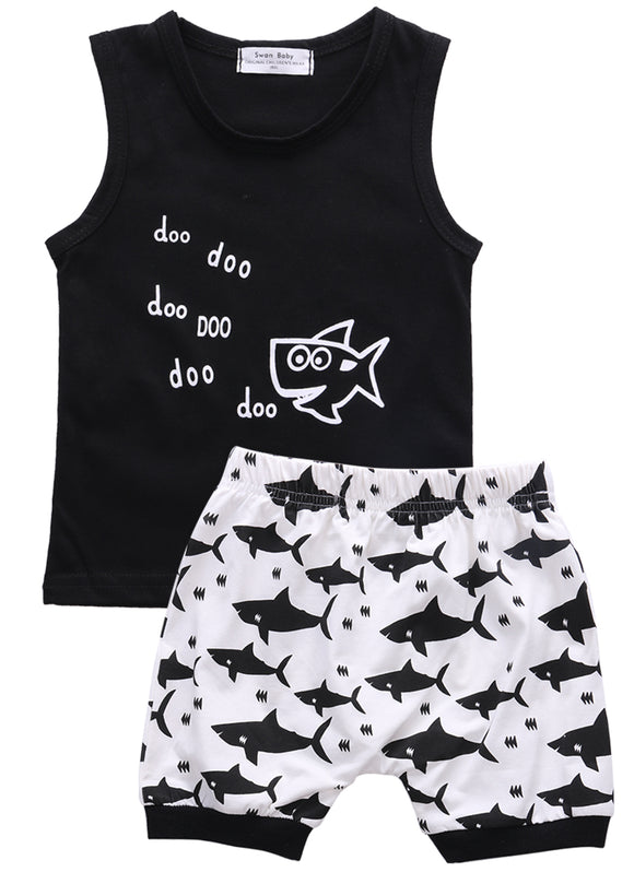 New 2016 summer baby boy clothes fashion cotton Sleeveless Tank Top+Fish Printed Shorts baby boys clothing set infant 2pcs suit