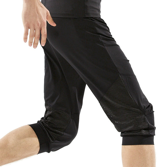 New Brand Summer Men Loose Yoga Gym Pants Quick Dry Elastic Breathable Running Training Fitness Sport Cropped Trousers M-XXL