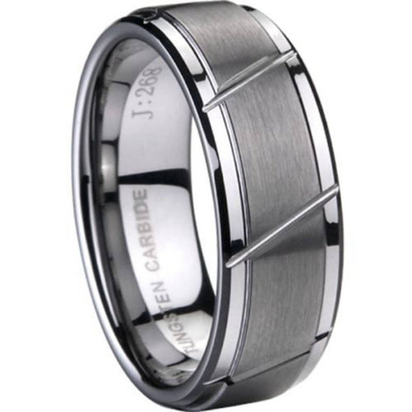 8MM Size 7 to 15 TUNGSTEN Carbide Ring Brushed Matte Wedding Engagement Grooved Plain Simple Classical Anniversary Cocktail - Icymen