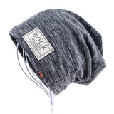 Autumn Hip hop cap Winter beanies men hats Rock logo Casual Cap Turban hat bonnet plus velvet caps for men beanie - Icymen