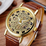 2017 New Brand Luxury Fashion Casual Leather Men Skeleton Watch Women Dress Wristwatch Steel Quartz Hollow Watches Men PINBO-85 - Icymen