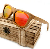 BOBO BIRD 100% Natural Bamboo Wooden Sunglasses Handmade Polarized Mirror Coating Lenses Eyewear With Gift Box - Icymen