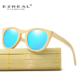 EZREAL Men Women 100% Natural Bamboo Wooden Sunglasses Polarized Handmade Polarized Mirror Coating Lenses Eyewear With Gift Box - Icymen