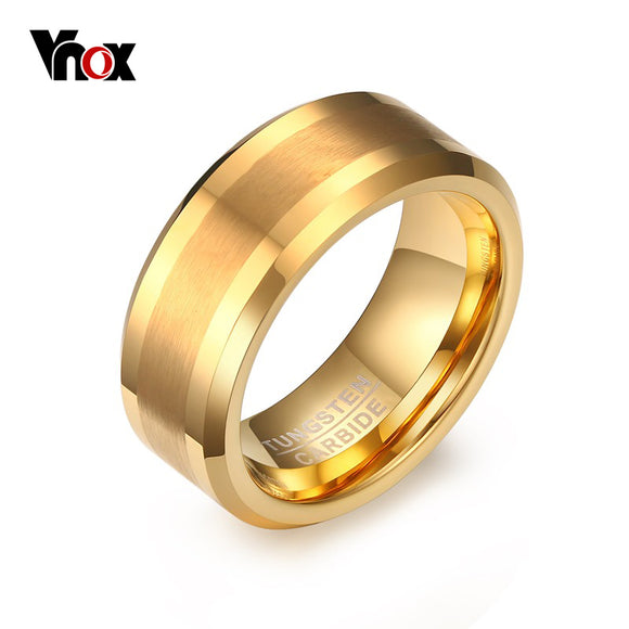 Vnox Gold-color Tungsten Rings for Men Jewelry 8MM Male Wedding Rings