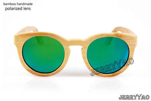 BerWer round design bamboo sunglasses with color lens and sunglasses bag and cloth - Icymen