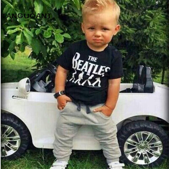 TANGUOANT New 2017 Baby Boy clothes 2pcs Short Sleeve T-shirt Tops +Pants Outfit Clothing Set Suit with The band printed