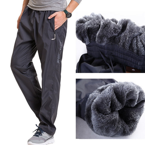 Grandwish Fleece Thick Pants Men Outside Winter Pants Men Fleece Warm Straight Mens Fleece Pants Heavyweight Zipper , PA785 - Icymen