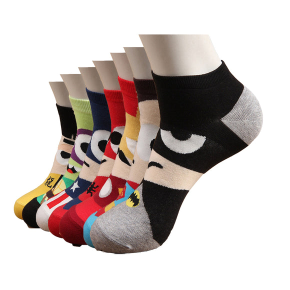 Hot sale! men socks cotton Superman SpiderMan Captain America Avenge men's and Male short sock colorful breathable cartoon socks - Icymen