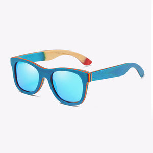 EZREAL Skateboard Wooden Sunglasses Blue Frame With Coating Mirrored Bamboo Sunglasses UV 400 Protection Lenses in Wooden Box - Icymen