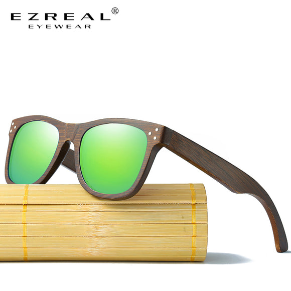 EZREAL Real Wood Sunglasses Polarized Wooden Glasses UV400 Bamboo Sunglasses Brand Wooden Sun Glasses With Wood Case - Icymen