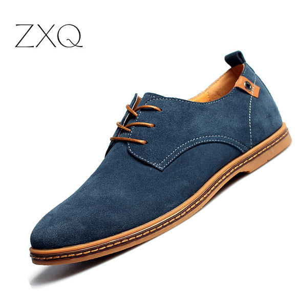 2017 fashion men casual shoes new spring men flats lace up male suede oxfords men leather shoes zapatillas hombre size 38-48 - Icymen