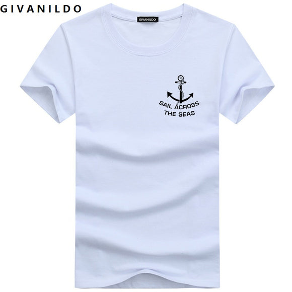 Givanildo 5XL Men T-Shirt Short Sleeve Plus Size T Shirt Man Clothes Slim Fit  Anchor College Casual Cotton Tee Shirt BY005 - Icymen