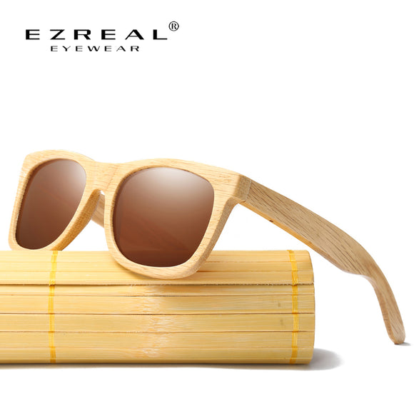 EZREAL New Fashion Products Men Women Glass Polarized Bamboo Sunglasses Retro Vintage Wood Lens Wooden Frame Handmade EZ042 - Icymen