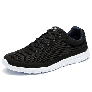 Brand Men Casual Shoes Breathable Lace-Up Walking Shoes Spring Lightweight Comfortable Walking Men Shoes Black Plus Size 48 - Icymen