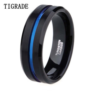 8mm Men Black Tungsten Carbide Ring Thin Blue Line Wedding Band Vintage Men Jewelry Anime Anel Masculino Aneis Alliance - Icymen