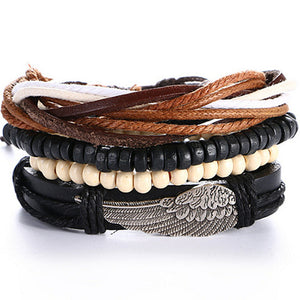 4 PCS/SET Punk Turkish Anchor Bracelets for Women Men Beads Wristband Cuff Leather Bracelet Ethnic Vintage Jewelry Bijouterie - Icymen