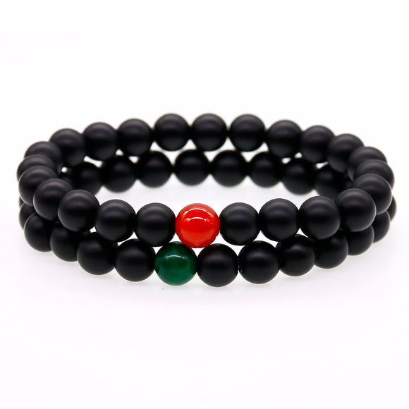 Lovers Distance Bracelets Natural Stone Red with Green Beads Matte Black Onyx Stone Bead Bracelets For Women Men Jewelry