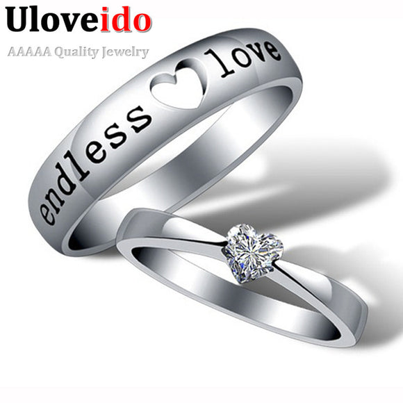Heart Zircon Endless Love Engagement Ring Wedding Couple Rings Aneis Mens Jewelry Commitment Rings Silver Ringen Anel Bague J205 - Icymen