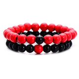 Classic Red and Black Natural Stone Distance Bracelet for Women Men Fashion Strand Bracelets & Bangles Lovers Gifts Jewelry - Icymen