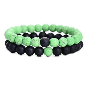 Chic Style Natural Stone Beaded Bracelet Sets For Men Women Rope Chain Jewelry 2 Colors Couple Jewelry Distance Bracelets - Icymen