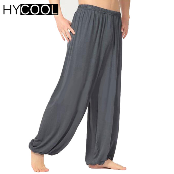 HYCOOL high quality men Modal yoga pants loose tai chi practise sports pants male kung fu bloomers martial arts trousers - Icymen