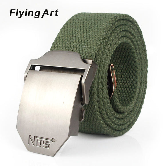 Hot male tactical belt Top quality 4 mm thick 3.8 cm wide canvas belt For men NO5 Automatic buckle Man extended 160 cm belts - Icymen