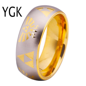 Free Shipping USA UK Canada Russia Brazil Hot Sales 8MM Golden Dome Comfort Fit Legend of Zelda New Men's Tungsten Wedding Ring - Icymen