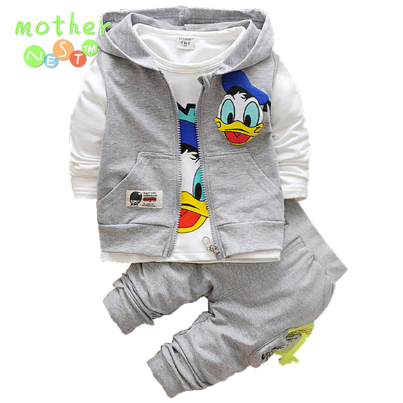 2017 Donald Duck Boys Clothing Sets Kids Autumn Character Cotton Long Sleeve Shirt +Pants+ Vest 3 Pcs Suit Children Clothes Set - Icymen