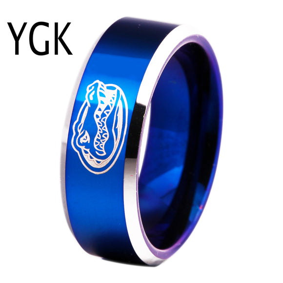 Free Shipping Customs Engraving Ring Hot Sales 8MM Blue With Shiny Edges Gators Design Men's Fashion Tungsten Wedding Ring - Icymen