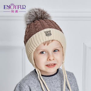 ENJOYFUR 2017 Winter baby Hats Real Fox Fur Pompom Hat Knitted Boy Cap Cotton Protect The Ears Hat Warm Thick Kids Beanies - Icymen