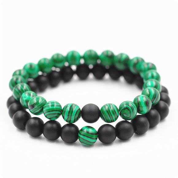 Newest Arrival Malachite Distance Bracelet Set Charms Round Beads Elastic Couple Braclet For Women Men Meditation Jewelry