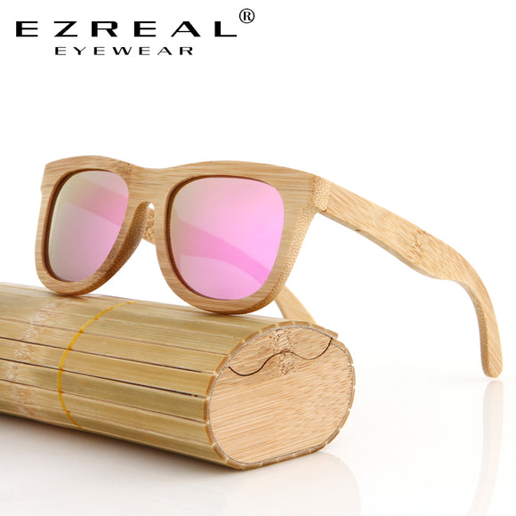 EZREAL Bamboo Sunglasses Men Wooden Sunglasses polarized Brand Designer Mirror Original Wood Sun Glasses Oculos zonnebril - Icymen
