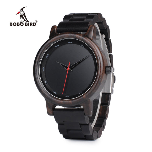 BOBO BIRD New Black Wooden Watches Men Wood Strap Quartz Analog Luxury Gifts Wristwatch Male Relogio C-P10 Drop Shipping - Icymen