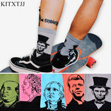 Fashion Casual Art Socks Men Women Cotton Crew Lincoin 3D Print Design Skate Brand Happy Meias Harajuku Novelty Sox Dropshipping - Icymen