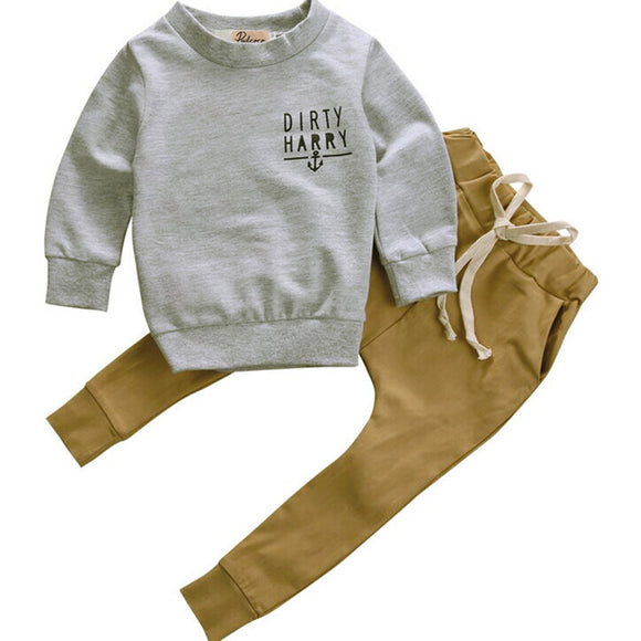 Kids Boys Winter Clothes Set Newborn Toddler Kids Baby Boy Clothes T-shirt Hoodie Tops+Long Pants Outfits Set 2pcs - Icymen
