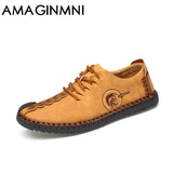 AMAGINMNI 2017 New Comfortable Casual Shoes Loafers Men Shoes Quality Split Leather Shoes Men Flats Hot Sale Moccasins Shoes - Icymen