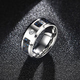 Men 8MM Cubic Zirconia & Black Carbon Fiber Inlay Wedding Band Ring with Stainless Steel Fashion Jewelry Mens Accessories