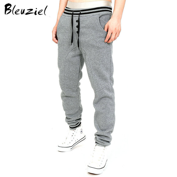 Bleuziel New Winter Add Velvet Wearm Men Trousers Thicker Men Sweatpants Fasion Cotton Pants Casual Solid Color Fitness Trousers - Icymen