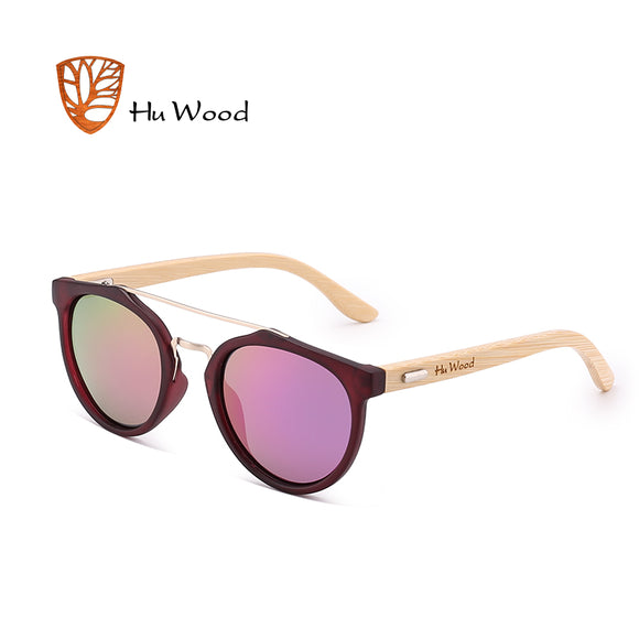 HU WOOD New Brand Sunglasses Men Women Natural Bamboo Frame Sun Glasses Round Wrap Double Bridge Goggle Driving Travel GR8023 - Icymen