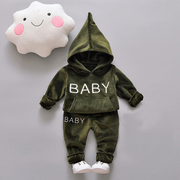 Baby Girl Boys Clothing Set For Kids Casual Letter Hooded Velvet Autumn Spring Children's Sports Suits Clothes 1 2 3 4 Years - Icymen