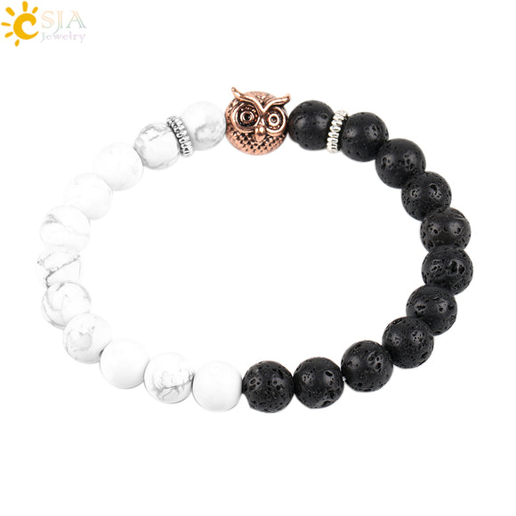 CSJA White Black Balance Stone Owl Bat Man Jewelry Distance Bracelets for Men Women Howlite Volcano Rock Beads Jewellery P072 - Icymen