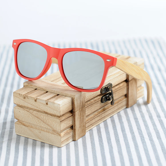 BOBO BIRD Brand Red Frame Sunglasses Woman Polarized Bamboo Holder Sun Glasses Beach Fashion Coated With Wood Box 2017 Oculos - Icymen