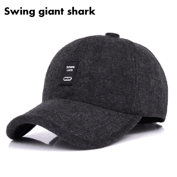 [Swing giant shark] 2017 New Woolen Baseball Cap Men Russian Winter Hats Warm with Fleece inside and Earflaps Winter men's caps